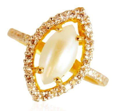 22K Gold  Ladies Pearl Ring ( Ladies Rings with Precious Stones )
