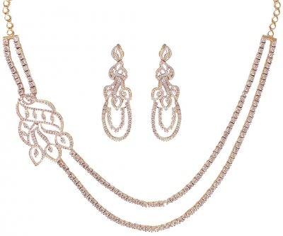 18K Gold Solitaire Diamond Set ( Diamond Necklace Sets )