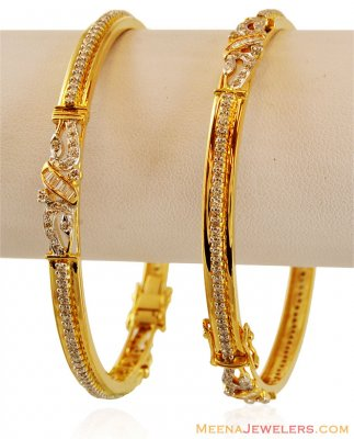 18K Gold Diamond Bangles (2PCs) ( Diamond Bangles )