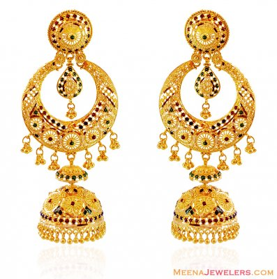 22K Chand bali with Jhumki and Meenakari ( Exquisite Earrings )