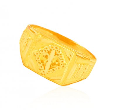 22k Mens Gold Fancy Style Ring ( Mens Gold Ring )