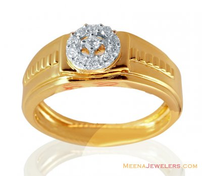 Mens Diamond Ring 18k Yellow Gold  ( Diamond Rings )