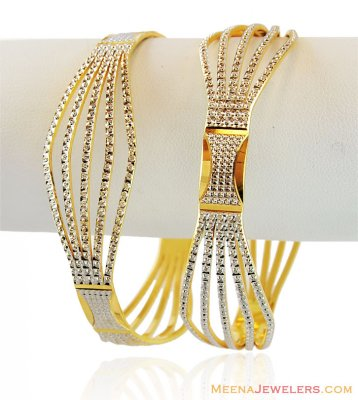 Gold Two Tone Bangles (2 PC) ( Two Tone Bangles )
