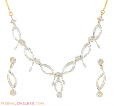 Diamond Necklace Set (18 K Gold) ( Diamond Necklace Sets )