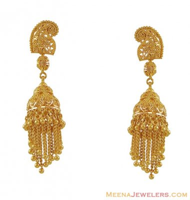 22K Indian Chandelier Earrings ( 22Kt Gold Fancy Earrings )