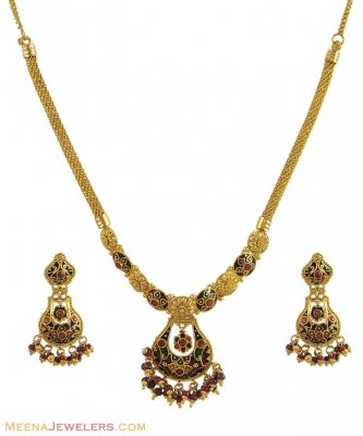 Antique Meenakari Set ( Antique Necklace Sets )