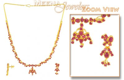 22K Ruby Necklace And Earrings Set ( Ruby Necklace Sets )