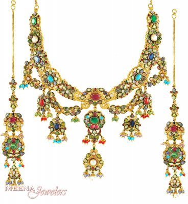 22Kt Gold Antique Set ( Antique Necklace Sets )