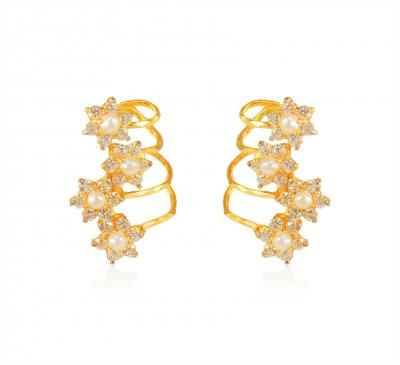 Designer Pearl Cz Earrings 22k  ( Precious Stone Earrings )