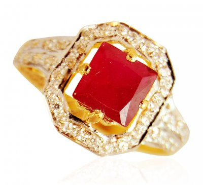 22k Gold Ring With Ruby and cz ( Ladies Rings with Precious Stones )