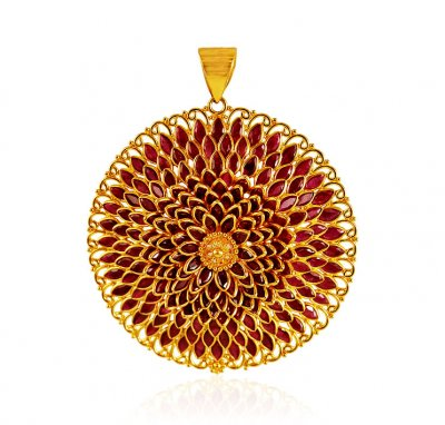 22K Gold Designer Ruby Pendant ( Fancy Pendants )