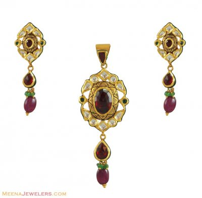 Indian Kundan Pendant Set (22K) ( Antique Pendant Sets )