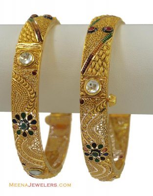 22K Gold Antique Kundan Bangle (2 pc) ( Antique Bangles )