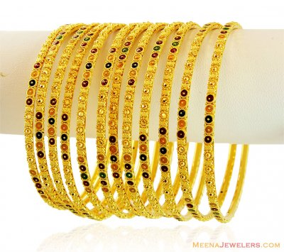 Meenakari Bangles 22k (8 pcs only) ( Set of Bangles )
