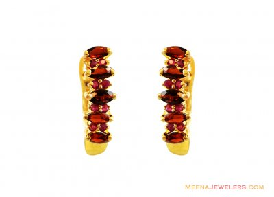 Ruby with Colored Stones Earrings ( Precious Stone Earrings )