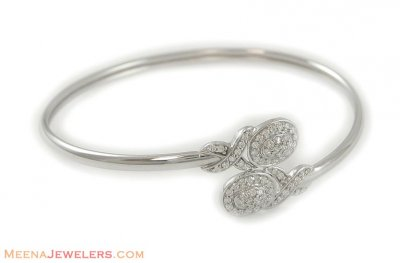 18k White gold kada (bangle) ( Stone Bangles )
