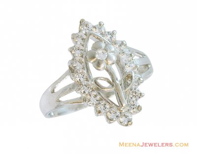 18K Floral Diamond Shaped Ring ( Ladies White Gold Rings )