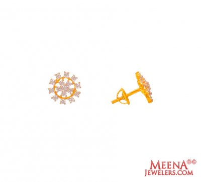 22K Gold CZ Tops ( Signity Earrings )