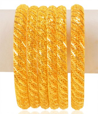 22kt Gold Bangles Set (6 Pcs) ( Set of Bangles )