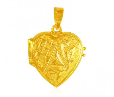 22K Gold Heart Photo Pendant ( Fancy Pendants )