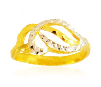 Two Tone 22 Kt Gold Ring ( Ladies Gold Ring )