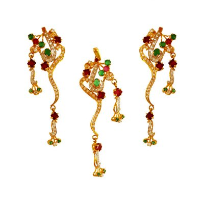 22KT Gold Ruby, Emerald Pendant Set ( Precious Stone Pendant Sets )