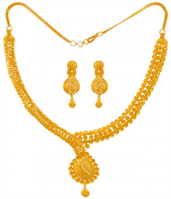 Gold Necklace And Earring Set ( 22 Kt Gold Sets )