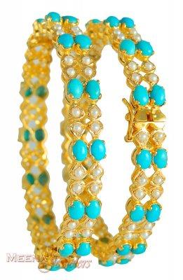 22Kt Bangles with Turquoise and Pearls ( Precious Stone Bangles )
