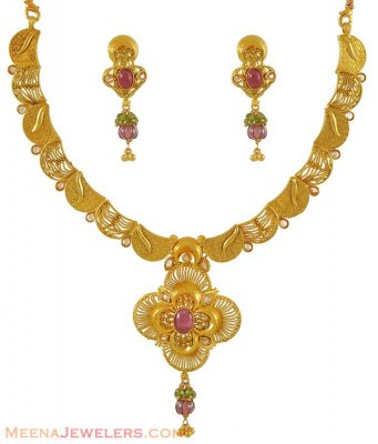 22K Gold fancy antique necklace set ( Antique Necklace Sets )