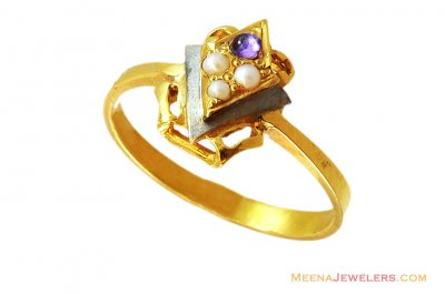 22K Fancy Two Tone Pearls Ring  ( Ladies Rings with Precious Stones )