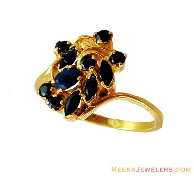 22K Fancy Gold Ring with Sapphire  ( Ladies Rings with Precious Stones )