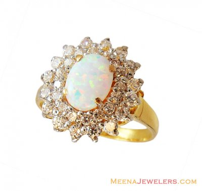 22k Designer Opal Floral Ring  ( Ladies Rings with Precious Stones )