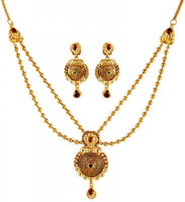 22KT Gold 2 Layered Antique Set ( Antique Necklace Sets )