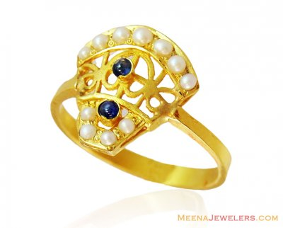 22k Fancy Pearl Sapphire Ring ( Ladies Rings with Precious Stones )