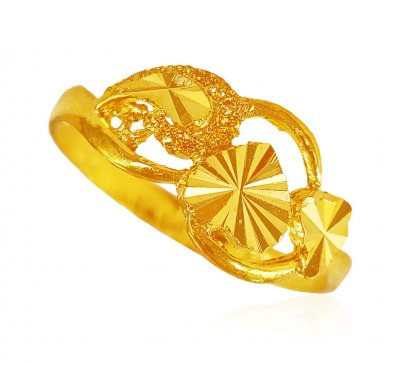 22kt Gold Heart shape Ring ( Ladies Gold Ring )