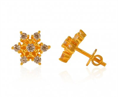 22K Gold Tops with CZ  ( Signity Earrings )