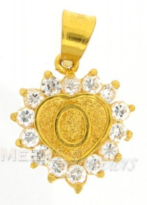 22Kt Gold Pendant with Initial(O) ( Initial Pendants )