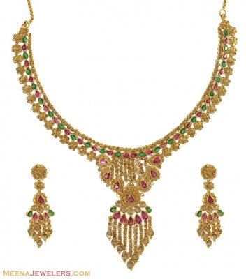 22K Genuine Diamond Poki Set ( Diamond Necklace Sets )