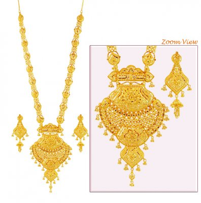 22K Gold Patta Necklace Set ( Bridal Necklace Sets )