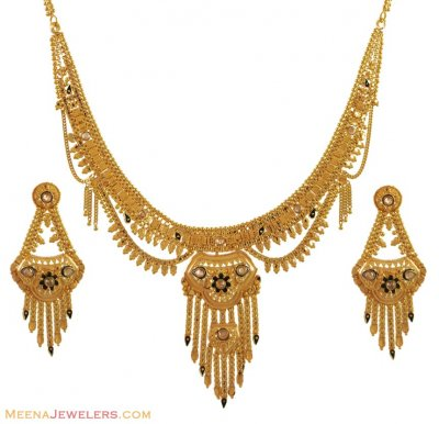 22K Gold Necklace Set (LC) ( 22 Kt Gold Sets )