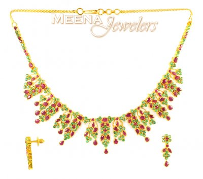 22Kt Gold Ruby and Emerald Set ( Combination Necklace Set )