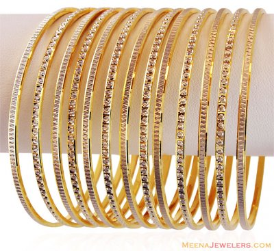 22K Two Tone Bangle Set (11 Pc Only) ( Two Tone Bangles )