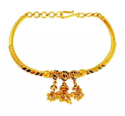 22Kt Gold Meena Bangle Bracelet  ( Ladies Bracelets )