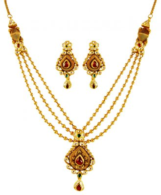 22K Gold Designer Antique Set ( Antique Necklace Sets )