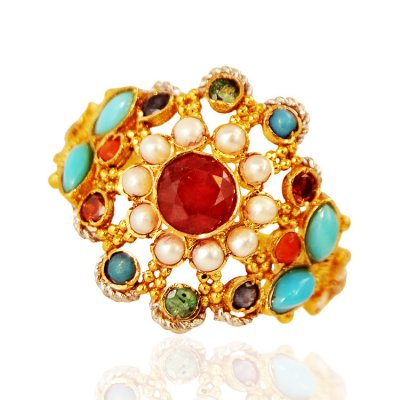 22kt Gold Stones Ring ( Ladies Rings with Precious Stones )