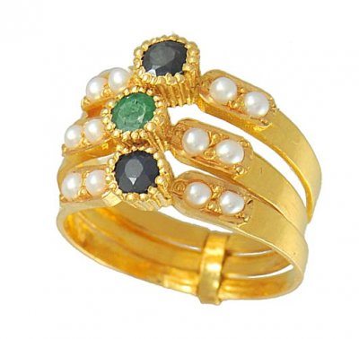 22Kt Gold 3 Layered Ring ( Ladies Rings with Precious Stones )