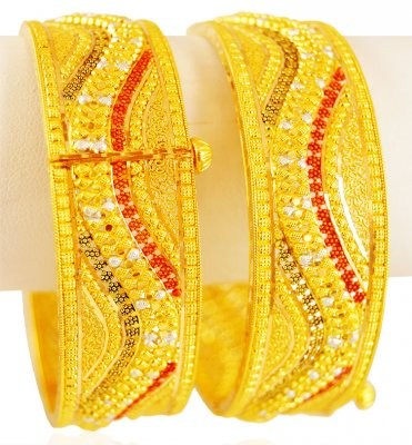22K Gold Three Tone Kada (Pair) ( Kadas )
