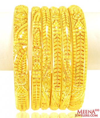 22K Gold Bangles Set of 6 ( Set of Bangles )