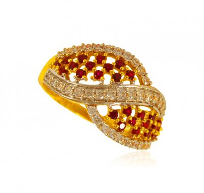 22 KT Gold CZ Ring ( Ladies Signity Rings )