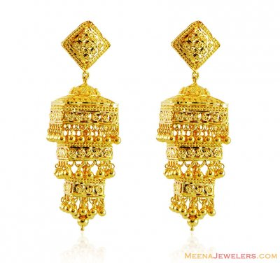 Gold Layered Jhukma Earrings  ( 22Kt Gold Fancy Earrings )